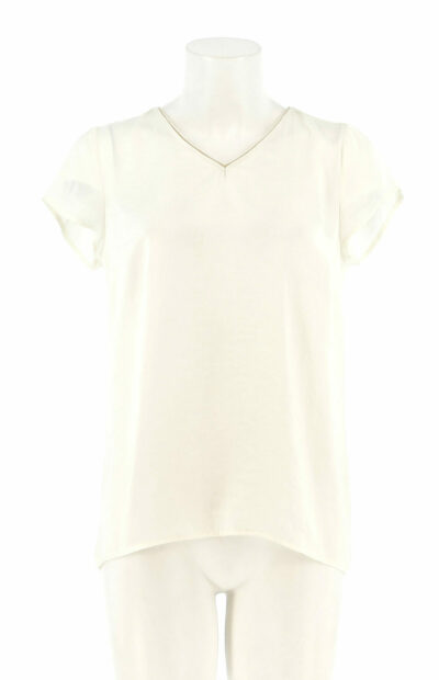Basic ecru shirt met V-hals signe nature