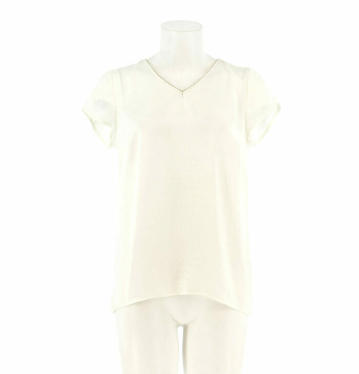 Basic ecru shirt met V-hals signe nature