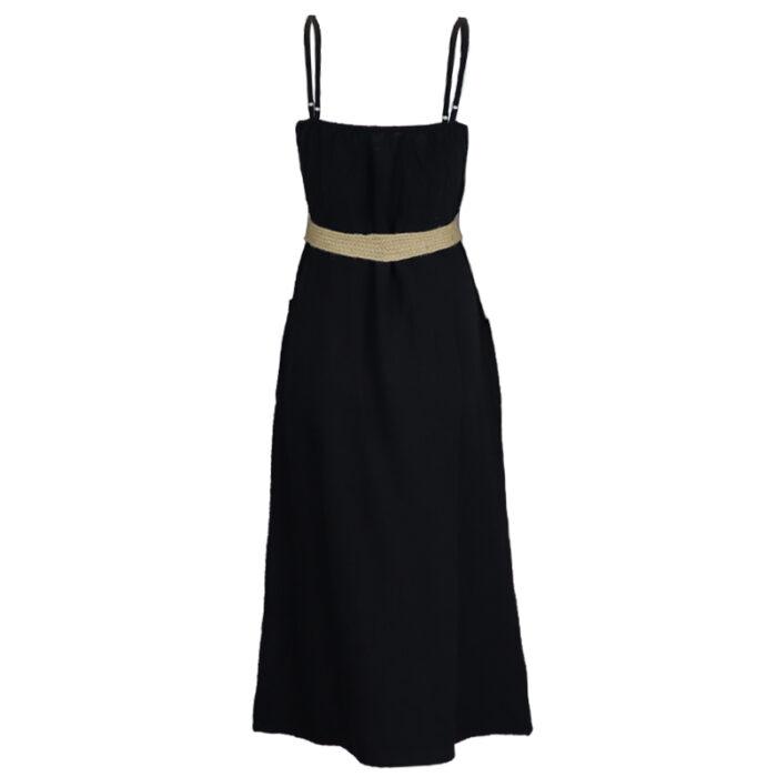 Zwart kleedje met ceintuur sophia perla