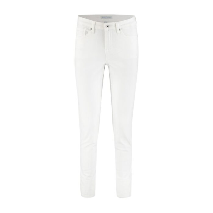 witte skinny jeans red button