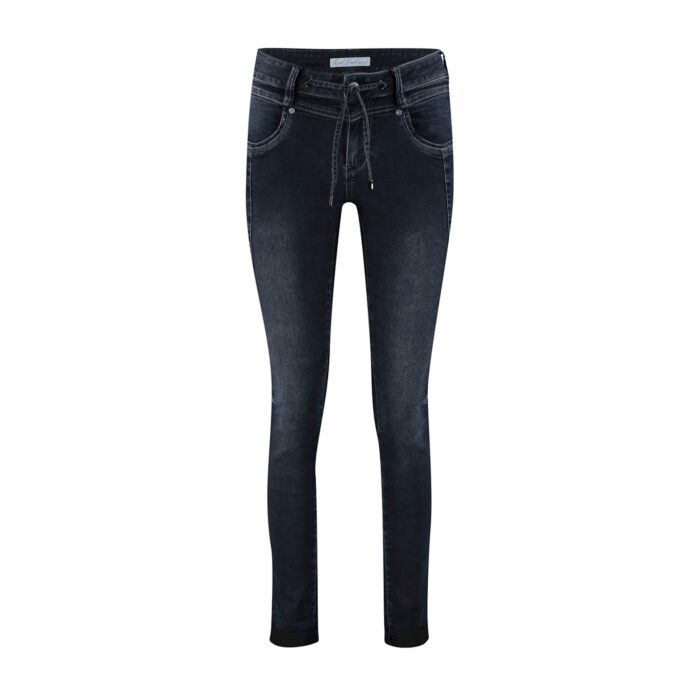 jeans stretch red button